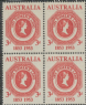 AUS SG271 3d Rose-Red Tasmania Postage Stamp Centenary block of 4